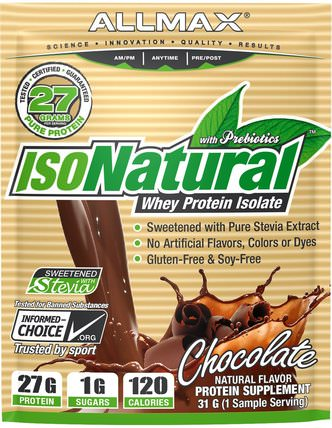 IsoNatural, 100% Ultra-Pure Natural Whey Protein Isolate (WPI90), Chocolate, 31 g by ALLMAX Nutrition, 運動,補品,乳清蛋白 HK 香港