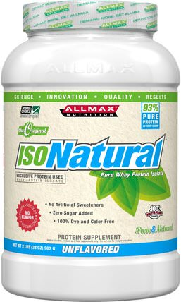 IsoNatural, 100% Ultra-Pure Natural Whey Protein Isolate (WPI90), The Original, Unflavored, 2 lbs (907 g) by ALLMAX Nutrition, 補充劑,乳清蛋白,運動 HK 香港