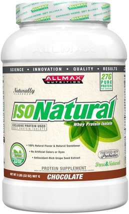 IsoNatural, Whey Protein Isolate, Chocolate, 2 lbs (907 g) by ALLMAX Nutrition, 補充劑,乳清蛋白,運動 HK 香港