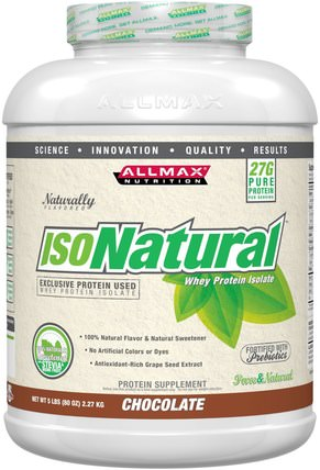 IsoNatural, Whey Protein Isolate, Chocolate, 5 lbs by ALLMAX Nutrition, 補充劑,乳清蛋白,運動 HK 香港