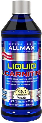 L-Carnitine Liquid + Vitamin B5, Vanilla Flavor, 16 oz (473 ml) by ALLMAX Nutrition, 補充劑,氨基酸,運動,左旋肉鹼液 HK 香港