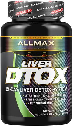 Liver Dtox with Extra Strength Silymarin, 42 Capsules by ALLMAX Nutrition, 健康,排毒,運動 HK 香港