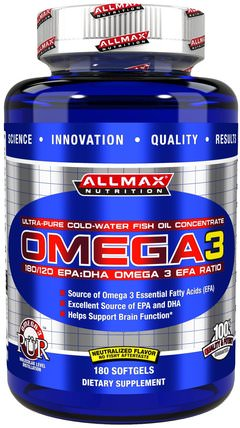Omega 3, Ultra-Pure Cold-Water Fish Oil Concentrate, 180 Softgels by ALLMAX Nutrition, 補充劑,efa omega 3 6 9(epa dha),運動,dha,epa HK 香港