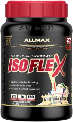 Pure Whey Protein Isolate Isoflex, Birthday Cake with Sprinkles, 2 lbs (907 g) by ALLMAX Nutrition, 體育 HK 香港