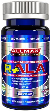 R+Alpha Lipoic Acid (Max Potency R+ALA), 150 mg, 60 Capsules by ALLMAX Nutrition, 補充劑,抗氧化劑,運動,α硫辛酸150毫克 HK 香港