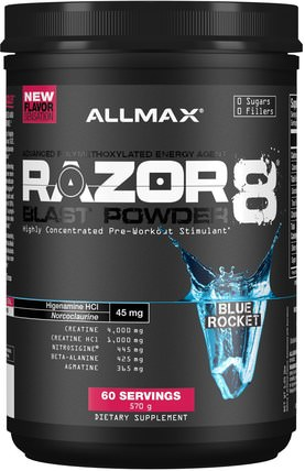 Razor 8, Pre-Workout Energy Drink With Yohimbine, Blue Rocket, 1.25 lb (570 g) by ALLMAX Nutrition, 健康,能量,運動 HK 香港