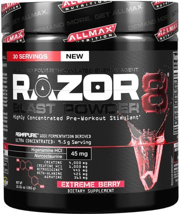 Razor 8, Pre-Workout Energy Drink with Yohimbine, Extreme Berry, 10.01 oz (285 g) by ALLMAX Nutrition, 運動,鍛煉 HK 香港