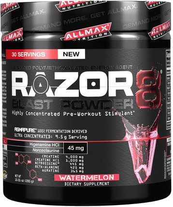 Razor 8, Pre-Workout Energy Drink with Yohimbine, Watermelon, 10.01 oz (285 g) by ALLMAX Nutrition, 運動,肌酸 HK 香港
