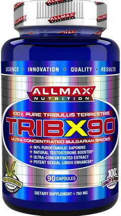 TribX90, 100% Pure Tribulus Terrestris 2X Potency, 750 mg, 90 Capsules by ALLMAX Nutrition, 運動,tri藜 HK 香港