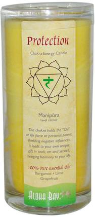 Chakra Energy Candle, Protection, Yellow, 11 oz, 1 Candle by Aloha Bay, 洗澡,美容,蠟燭 HK 香港
