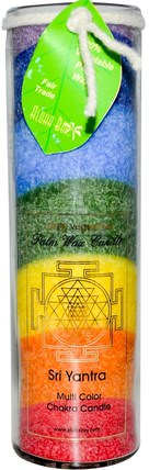 Palm Wax Candle, Sri Yantra, Multi Color Chakra Candle, 17 oz by Aloha Bay, 洗澡,美容,蠟燭 HK 香港