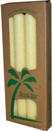 Palm Wax Taper Candles, Unscented, Cream, 4 Pack, 9 in (23 cm) Each by Aloha Bay, 洗澡,美容,蠟燭 HK 香港