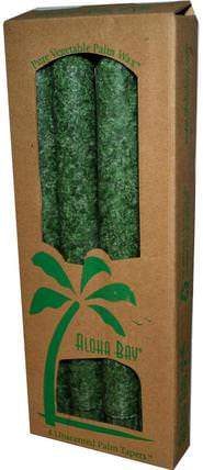 Palm Wax Taper Candles, Unscented, Green, 4 Pack, 9 in (23 cm) Each by Aloha Bay, 洗澡,美容,蠟燭 HK 香港