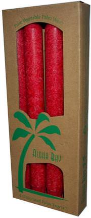 Palm Wax Taper Candles, Unscented, Red, 4 Pack, 9 in (23 cm) Each by Aloha Bay, 洗澡,美容,蠟燭 HK 香港