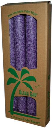 Palm Wax Taper Candles, Unscented, Violet, 4 Pack, 9 in (23 cm) Each by Aloha Bay, 洗澡,美容,蠟燭 HK 香港