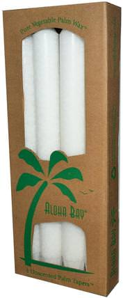 Palm Wax Taper Candles, Unscented, White, 4 Pack, 9 in (23 cm) Each by Aloha Bay, 洗澡,美容,蠟燭 HK 香港