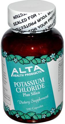 Potassium Chloride, Plus Silica, 100 Capsules by Alta Health, 補品,礦物質,氯化鉀 HK 香港