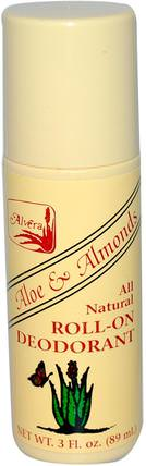 Roll-On Deodorant, Aloe & Almonds, 3 fl oz (89 ml) by Alvera, 洗澡,美容,除臭劑 HK 香港
