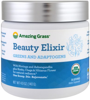 Beauty Elixir, Greens And Adaptogens, 4.9 oz (140 g) by Amazing Grass, 美容,補品,超級食品 HK 香港