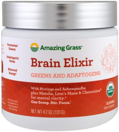 Brain Elixir, Greens And Adaptogens, 4.2 oz (120 g) by Amazing Grass, 補品,超級食品 HK 香港