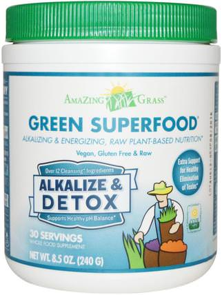 Green Superfood, Alkalize & Detox, 8.5 oz (240 g) by Amazing Grass, 補品,超級食品,排毒 HK 香港