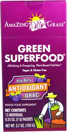 Green Superfood, Antioxidant Acai Berry Drink Powder, 15 Individual Packets, 0.25 oz (7 g) Each by Amazing Grass, 補品,超級食品 HK 香港