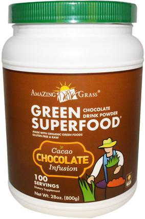 Green Superfood, Chocolate Drink Powder, 28 oz (800 g) by Amazing Grass, 補品,超級食品 HK 香港
