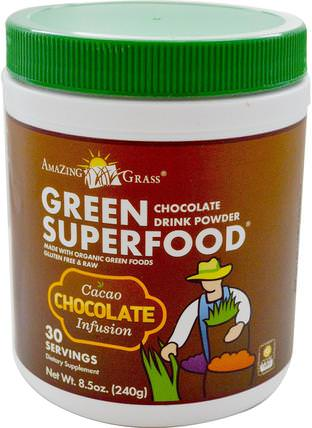 Green Superfood, Chocolate Drink Powder, 8.5 oz (240 g) by Amazing Grass, 補品,超級食品 HK 香港