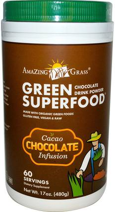 Green Superfood, Chocolate Drink Powder, Cacao Infusion, 17 oz (480 g) by Amazing Grass, 補品,超級食品 HK 香港