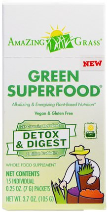 Green Superfood, Detox & Digest, 15 Packets, 0.25 oz (7 g) Each by Amazing Grass, 補品,超級食品 HK 香港