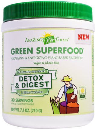 Green Superfood, Detox & Digest, 7.4 oz (210 g) by Amazing Grass, 補品,超級食品 HK 香港