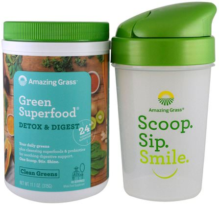 Green Superfood, Detox Digest & Shaker Gift Set, 2 Piece Set by Amazing Grass, 補品,超級食品,小麥草 HK 香港