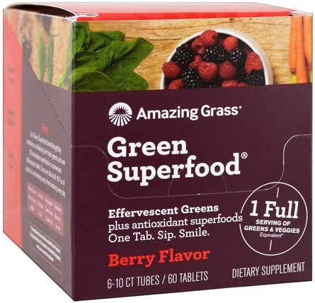 Green Superfood, Effervescent Greens, Berry Flavor, 6 Tubes, 10 Tablets Each by Amazing Grass, 補品,超級食品 HK 香港
