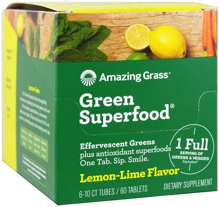 Green Superfood, Effervescent Greens, Lemon-Lime Flavor, 6 Tubes, 10 Tablets Each by Amazing Grass, 補品,超級食品,綠色蔬菜 HK 香港