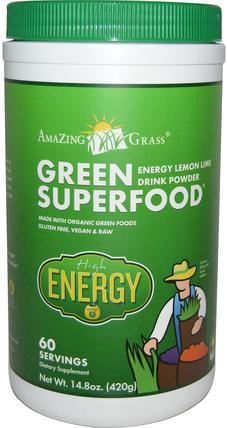 Green Superfood, Energy Lemon Lime Drink Powder, 14.8 oz (420 g) by Amazing Grass, 健康,能量飲料混合物,補品,超級食品,綠色蔬菜 HK 香港