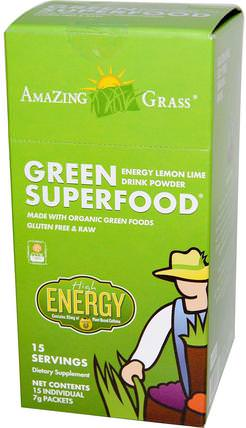 Green Superfood, Energy Lemon Lime Drink Powder, 15 Individual Packets, 7 g Each by Amazing Grass, 健康,能量飲料混合物,補品,超級食品,綠色蔬菜 HK 香港