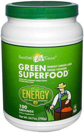 Green Superfood, Energy Lemon Lime Powder Drink, 24.7 oz (700 g) by Amazing Grass, 健康,能量飲料混合物,補品,超級食品,綠色蔬菜 HK 香港