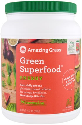 Green Superfood, Energy, Watermelon, 24.7 oz (700 g) by Amazing Grass, 健康,能量飲料混合,補品,超級食品 HK 香港