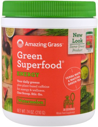 Green Superfood, Energy, Watermelon, 7.4 oz (210 g) by Amazing Grass, 補品,超級食品 HK 香港