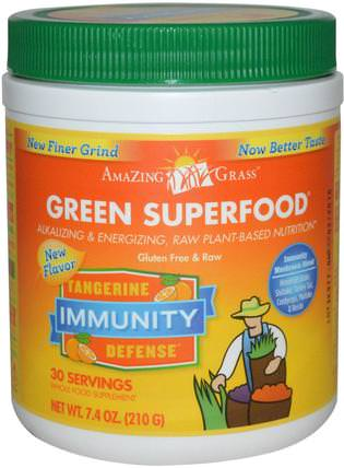 Green Superfood, Immunity, Tangerine, 7.4 oz (210 g) by Amazing Grass, 補品,超級食品 HK 香港