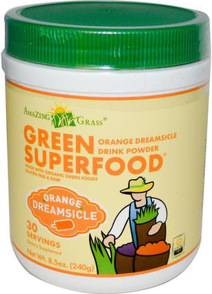 Green Superfood, Orange Dreamsicle Drink Powder, 8.5 oz (240 g) by Amazing Grass, 補品,超級食品 HK 香港