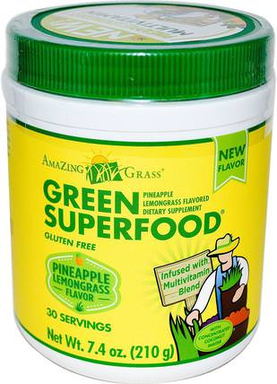 Green Superfood, Pineapple Lemongrass Flavored, 7.4 oz (210 g) by Amazing Grass, 補品,超級食品 HK 香港