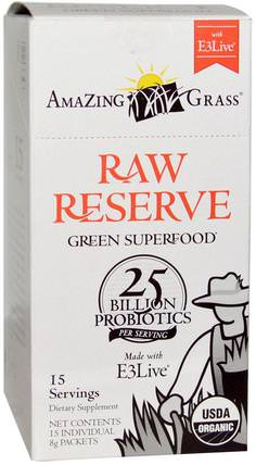Green Superfood, Raw Reserve with E3 Live, 15 Packets, 8 g Each by Amazing Grass, 補品,超級食品 HK 香港