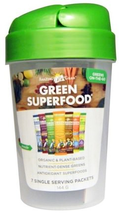 Green Superfood Shaker Cup and 7 Flavors of Green Superfood, 1 - 20 oz Cup, 7 Packets (7 g) Each by Amazing Grass, 運動,健身水瓶振動篩杯 HK 香港