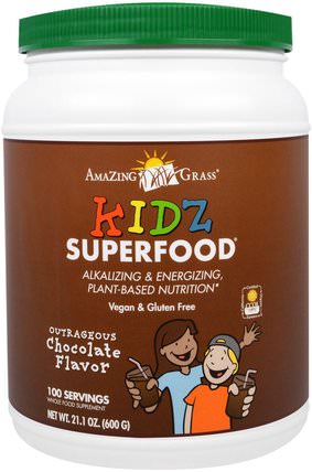Kidz Superfood, Outrageous Chocolate Flavor, 21.1 oz (600 g) by Amazing Grass, 補品,超級食品 HK 香港