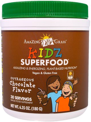 Kidz Superfood, Outrageous Chocolate Flavor, 6.35 oz (180 g) by Amazing Grass, 補品,超級食品 HK 香港