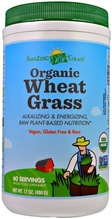 Organic Wheat Grass, 17 oz (480 g) by Amazing Grass, 補品,超級食品,小麥草 HK 香港