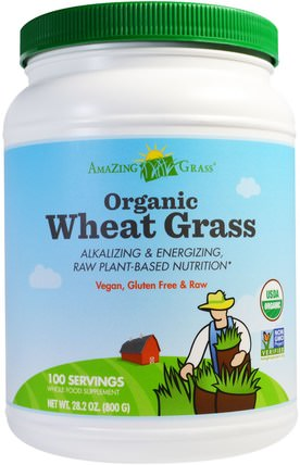 Organic Wheat Grass, 28.2 oz (800 g) by Amazing Grass, 補品,超級食品,小麥草 HK 香港
