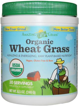 Organic Wheat Grass, 8.5 oz (240 g) by Amazing Grass, 補品,超級食品,小麥草 HK 香港