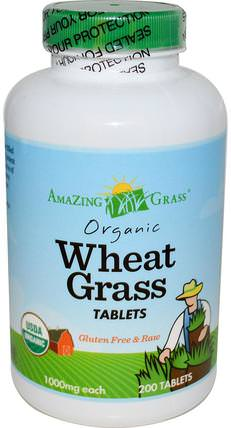 Organic Wheat Grass Tablets, 1000 mg, 200 Tablets by Amazing Grass, 補品,超級食品,小麥草 HK 香港